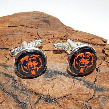 Chicago Bears logo cufflinks, American football team, NFL football cufflinks, sports teams cufflinks, bear cufflinks, wedding cufflinks