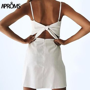 Aproms Back Tie Up Bow Summer Dress Women Sundress Elegant Linen Dress Slim Fit Bodycon White Black Short Dress Vestidos 11142