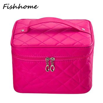 ONETOW 2016 Cosmetic bag Quilted professional makeup organizer femal large capacity storage handbag travel toiletry cosmetic box LWS051