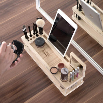 Beauty Station: Makeup Organizer and Display Case with Docking Station for Phones and Tablets