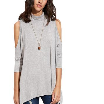 SheIn Heather Grey Tee For Women Autumn Casual Tops High Neck Three Quarter Length Sleeve Keyhole Back Cold Shoulder T-shirt