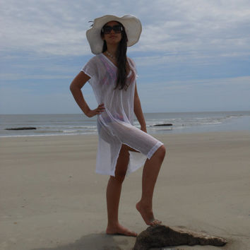 Beach cover up, kaftan, caftan, beachwear, resort wear, tunic, summer dress, vacation wear White Netting or Gauze in many colors