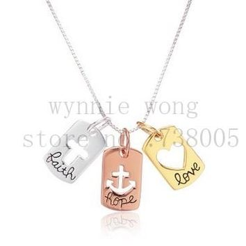 "2015 New Inspirational Tri Colored Silver Yellow, Rose Gold Flashed ""Faith Hope Love""  Open Cross Hearts  Charm Pendant Necklace"