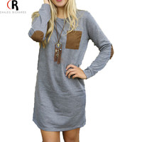 Grey Long Sleeve Mini Shift Dress Chest Pocket Elbow Patching Fall Loose Casual Dresses 2016 Women Clothing