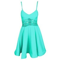 Women's Summer Spaghetti Strap Short Skater Dress