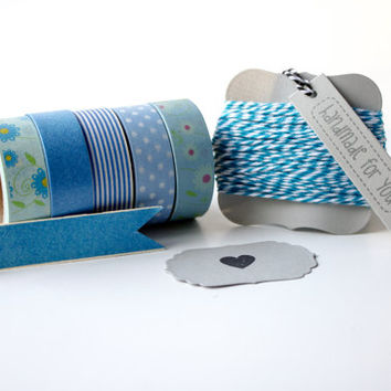 Blues Pack - Washi Tape - Scrapbooking Adhesive - Bakers Twine - Divine Twine