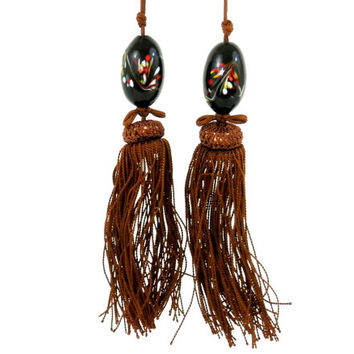 Antique Glass Black Millefiori Beads with Long Bronze Tassels