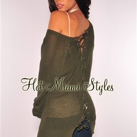 Olive Knit Lace Up Back Sweater