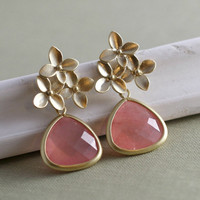 Ready to Ship Last Minute Gift Stud Earrings , Gold Agate Earrings, Cherry Blossom  Pink Briolettes, Wedding Jewelry Under 30 Valentines Day