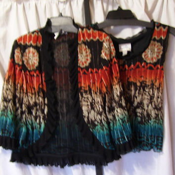 Black Multi, Jacket Set, Matching Shell, 2 Piece Set, Joseph Ribkoff, Size 10, Evening, Wedding, Resort Cruise Wear