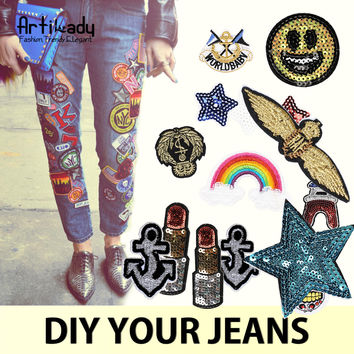 Artilady fashion 5pcs/lot patched denim jean jacket with patches DIY with iron sequins embroidered mix jewelry pins