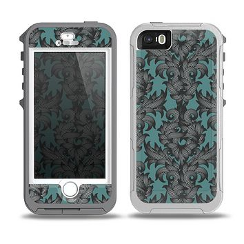The Teal Leaf Foliage Pattern Skin for the iPhone 5-5s OtterBox Preserver WaterProof Case
