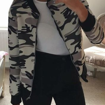 White Camo Print Zipper Cargo Casual Jacket Cardigan Coat