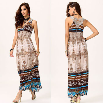 Maxi Lace Back Sexy Women Summer Bohemia V-Neck Long Beach Dress SV002563 One Size Vestidos (Color: Apricot) = 4756866500