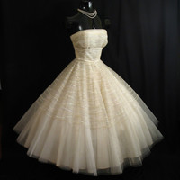 Vintage 1950's 50s STRAPLESS Bombshell Ivory Tulle Sequins Circle Skirt Party Prom Wedding DRESS Gown