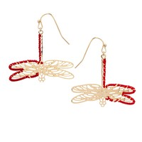 Les Nereides Intricate Dragonfly Earrings