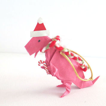 Origami Dinosaur Ornament, T-Rex with Santa Hat and Scarf, Pink