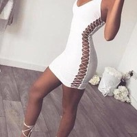 BO LACE UP DRESS