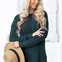 Popcorn Side Slit Sweater Top | Hunter Green