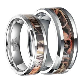 Frank SBurton 6mm 8mm Camo Wedding Bands for Men Women Hunting Tungsten Carbide Rings Comfort Fit Size 513