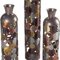 "0-014514>36""h Set of 3 Lacquered Floor Standing Vases Silver/Gold/Copper/Bronze"