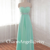 chiffon prom dress, long homecoming dress, Sweetheart formal dress