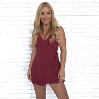 Champagne Love Wrap Romper in Maroon