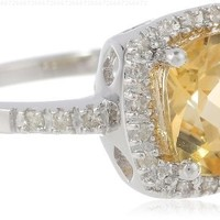 Sterling Silver Cushion Citrine Diamond Ring (1/10 cttw, I-J Color, I2-I3 Clarity), Size 7