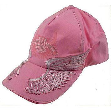 Rolling Steel Thunder Genuine Biker Pink Adult Hat Lot 2 Cap Embroidered Wings