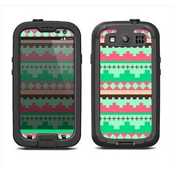 The Lime Green & Coral Tribal Ethic Geometric Pattern Samsung Galaxy S3 LifeProof Fre Case Skin Set