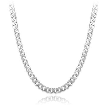 "Italian 7.5mm Solid 925 Platinum Plated Sterling Silver Beveled Cuban Curb Link Chain 26"" Long, Fronay Collection"