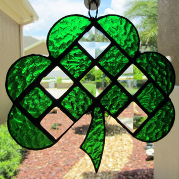 Irish Shamrock Stained Glass Sun Catcher/ Light Catcher  ~ Green Clover Garden Decoration ~  Irish Lawn Ornament ~ 6.25 X 6 Inches