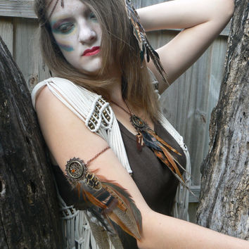 feather dreamcatcher arm chain earthtone tribal inspired