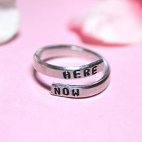 Here Now Ring in Silver - Adjustable Ring