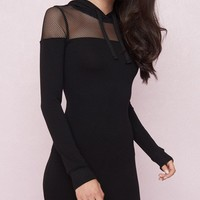 Mesh Hoodie Bodycon Dress