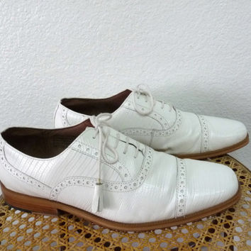 Vintage White leather shoes Giorgio Brutini Men's Dress Snake leather Oxfords Loafer Tassel Wedding Size 10M