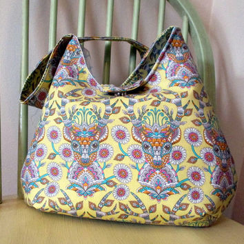 Boho Shoulder Bag , Deer Purse , Tula Pink Purse , Yellow And Blue Bag With Pockets