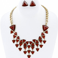 Triangle Stone Necklace/ Earring Set in Red