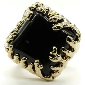 Coral Wrapped Offset Square Simulated Onyx Stone Adjustable  Fashion Ring in Gold Tone