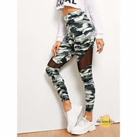 Diagonal Mesh Camo Leggings
