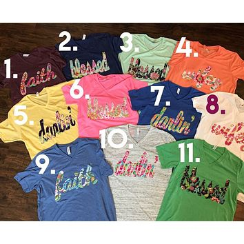 PICK YOUR OWN SHIRT!! Darlin, Faith, Wifey, Blessed