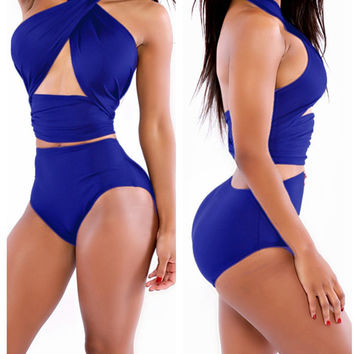 Royal Blue Halter Wrap High Waisted Swimsuit