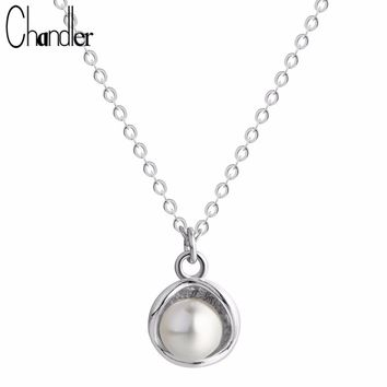 Chandler 925 Sterling Silver 2017 New Fashion Necklace & Pendant Chunky Luxury Choker Simulated Pearl Statement love Bib Collar