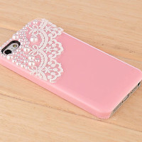 For Apple iPhone 5 5S Bling Cute Diamond Crystal Pearl Flower Hard 3D Case Cover