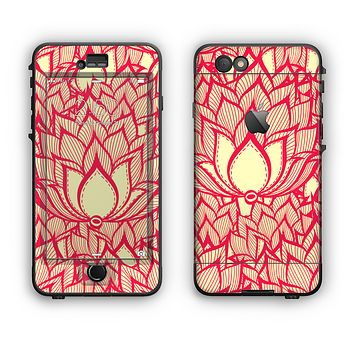 The Sketched Red and Yellow Flowers Apple iPhone 6 LifeProof Nuud Case Skin Set