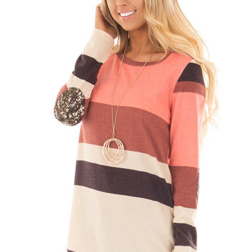 Bright Pink Color Block Sweater with Sequin Elbow Patches