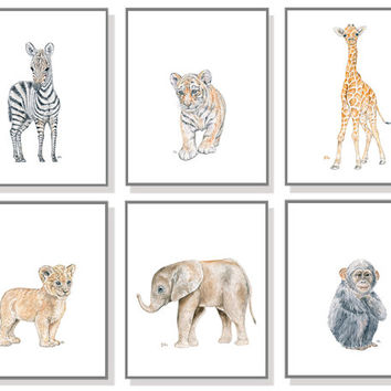 Safari Animal Art Safari Nursery Print. Baby Animal Nursery Jungle Nursery Art Kids Decor Elephant Giraffe Lion Tiger Zebra Monkey Set of 6.