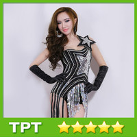 Hot Sale Female DJ Singer Jazz Stage Outfit Costumes Sexy Nightclub Jumpsuit for Lady Women Free Size 8190