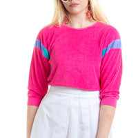 Vintage 80's Pink Terry Cloth Pullover - One Size Fits Many