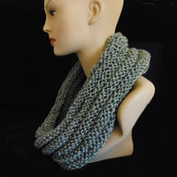 Hand Knit Grey Heather Infinity Scarf or Hooded Cowl